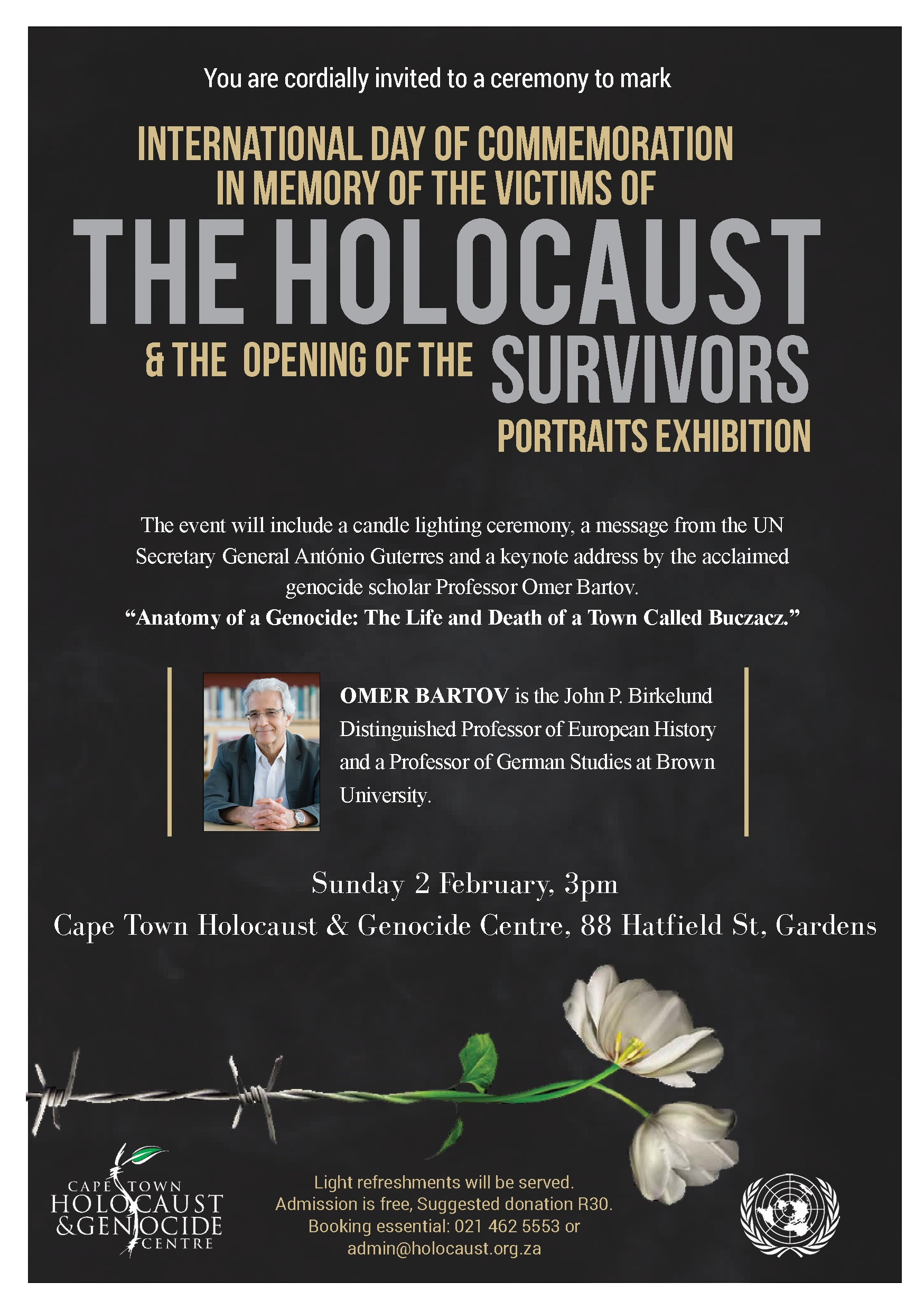 Holocaust Memorial Day and the Survivors potraits exhibition opening CTHGC