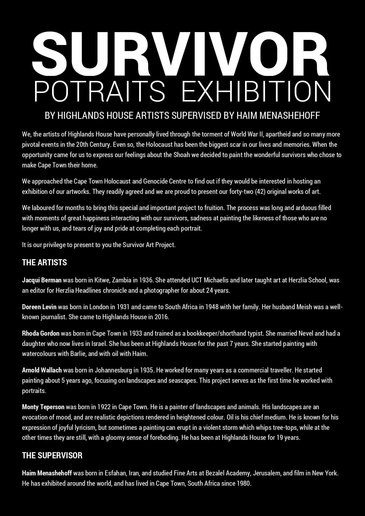 Survivors Portraits Exhibition CTHGC
