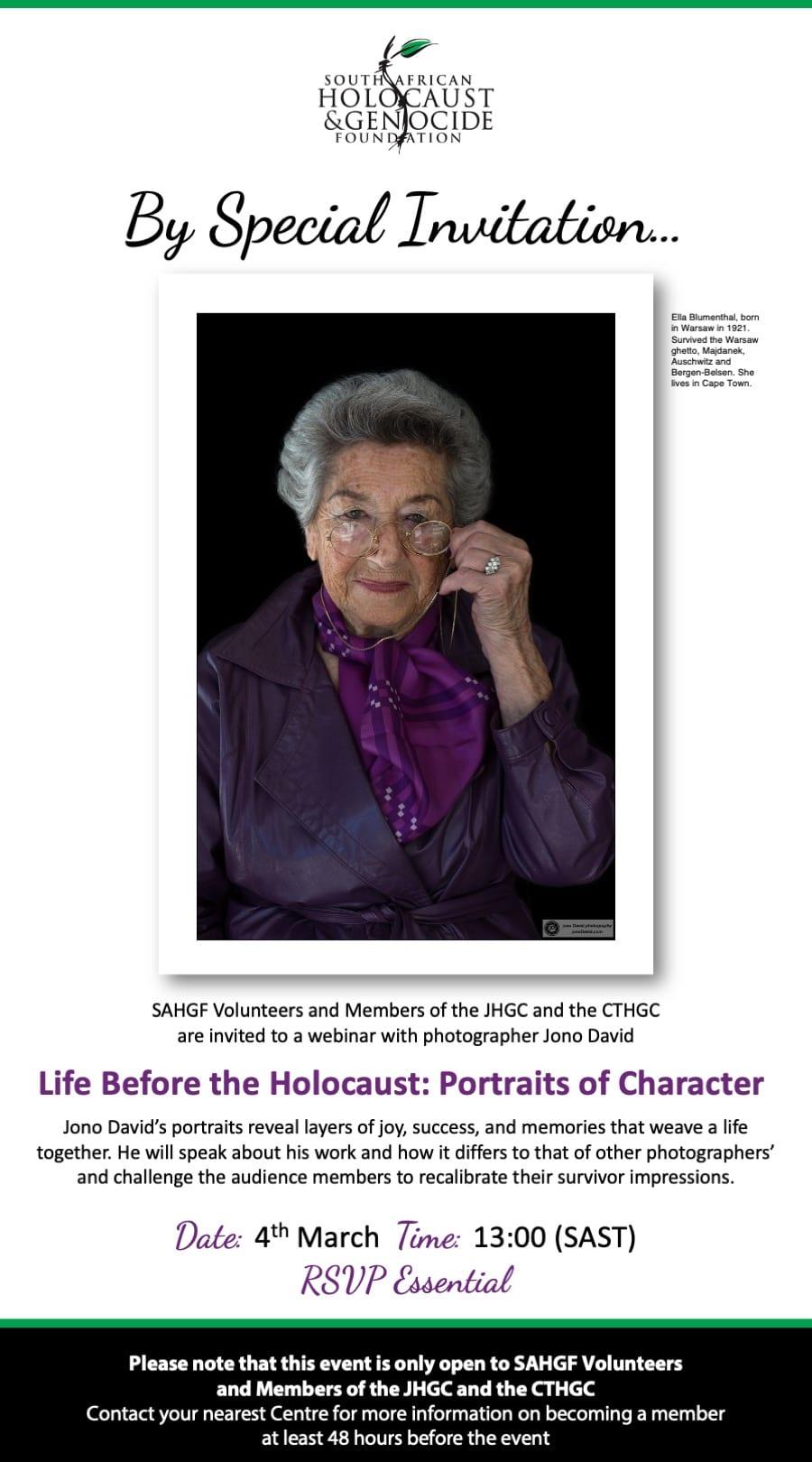 Life Before the Holocaust Portraits of Character Jono Davids CTHGC